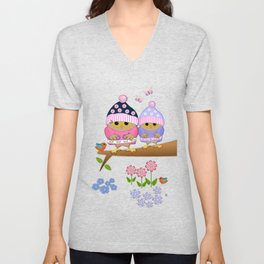 Spring owl in her new dress Unisex V-Neck
