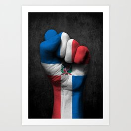 Dominican Flag on a Raised Clenched Fist Art Print
