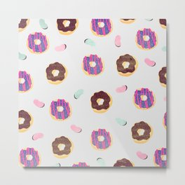 Donuts and jelly beans pattern Metal Print
