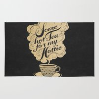 kitchen Area & Throw Rugs featuring Some Hot Tea For My Hottie by Laura Graves