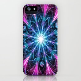 Winter violet glittered Snowflake or flower Background iPhone Case