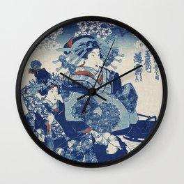traditional Japanese ukiyo-e style illustration of a well-dressed courtesan Wall Clock