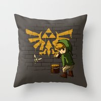 banksy Throw Pillows featuring Link Banksy by le.duc
