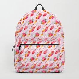 Pink Roses On Arrows Boho Design Backpack