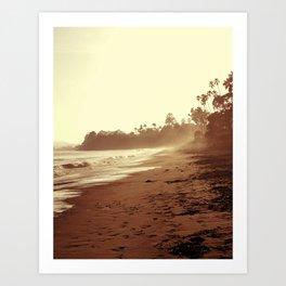 Vintage Retro Sepia Toned Coastal Beach Print Art Print