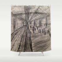 subway Shower Curtains featuring Subway Platform by Melissa Roberts