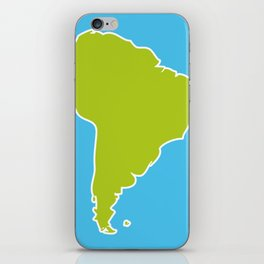 South America map blue ocean and green continent. Vector illustration iPhone Skin