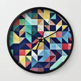 Modern Colorful Retro Geometric Triangle Pattern Wall Clock