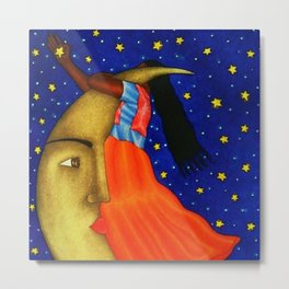 'Girl on the Moon with the Stars in her Hand' in the style of R. Morales (Artist Unknown) Metal Print