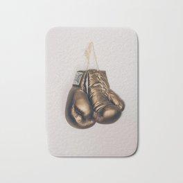 Gold Boxing Gloves Bath Mat