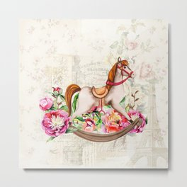 Vintage Collage and Rocking Horse Metal Print