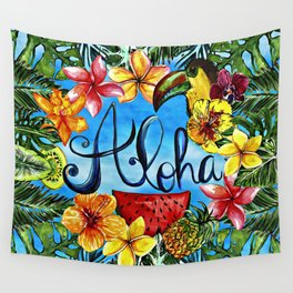 Aloha - Tropical Flower Food and Animal Summer Design Wall Tapestry