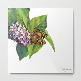 Butterfly & Lilacs Metal Print