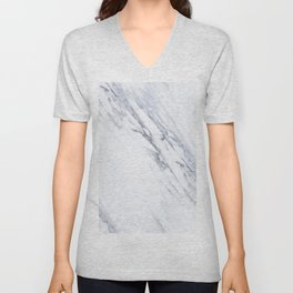 White Marble with Classic Black Veins Unisex V-Neck