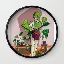 boys with love for plants illustration painting Wall Clock