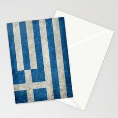 Greek flag in retro grunge Stationery Cards