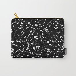 Paint Spatter White on Black Carry-All Pouch