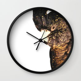 Black cockatoo illustration Wall Clock