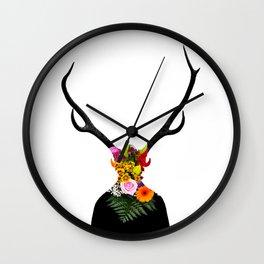 Deer head on flowers Wall Clock