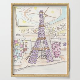 Eiffel Tower of French Macarons and Sweets in Paris  Serving Tray