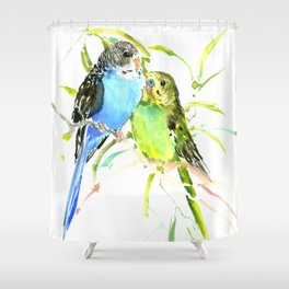 Budgies, love bird green blue decor Shower Curtain