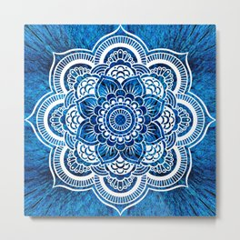 Mandala Cerulean Blue Colorburst Metal Print