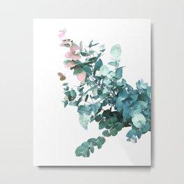 Rose and Teal Eucalyptus bouquet Metal Print
