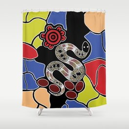 Authentic Aboriginal Art – Snake Dreaming Shower Curtain