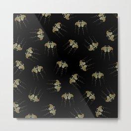 Gold Butterflies Pattern On Black Metal Print