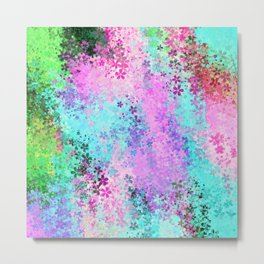 flower pattern abstract background in pink purple blue green Metal Print