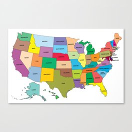 Map of the US states Canvas Print