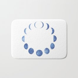 Blue Moon Phases | Watercolor Painting Bath Mat