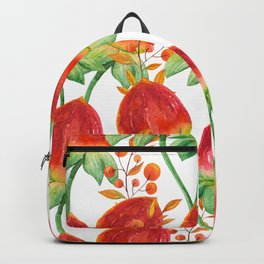 Watercolor hand painted red orange yellow tulip flowers Backpack
