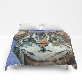 Green Eyed Cat Portrait Comforters