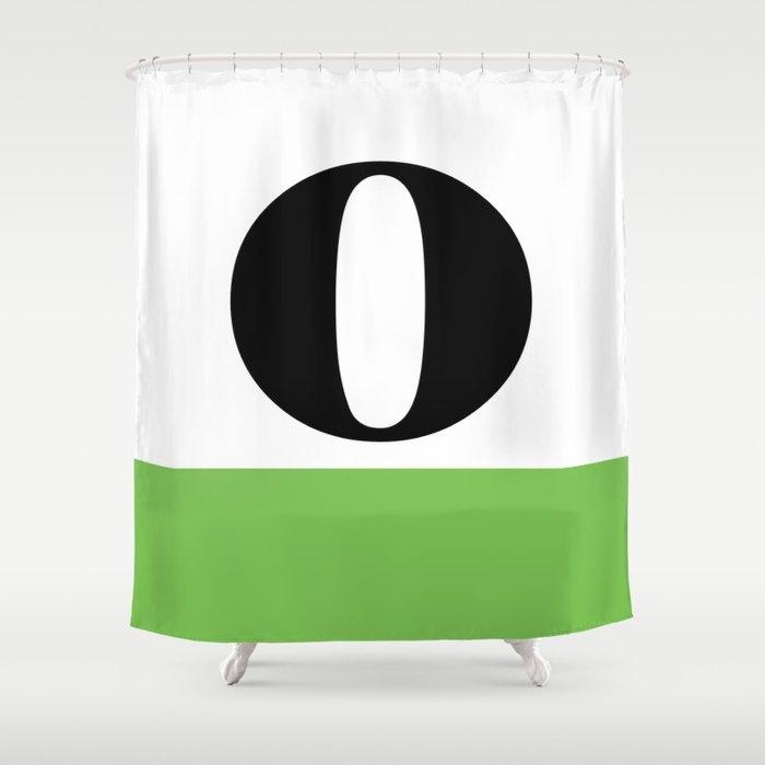 Monogram Letter O Color Block Shower Curtain
