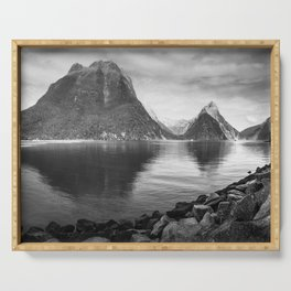 Milford Sound Panorama in black and white Serving Tray