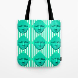CONTEMPORARY TURQUOISE MOON FACE & STRIPES ART Tote Bag