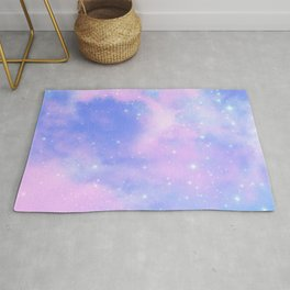 Decorative Magical Sky Pink Clouds Dreamy Stardust Rug
