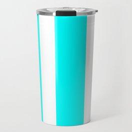 Mixed Vertical Stripes - White and Aqua Cyan Travel Mug