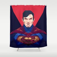 superman Shower Curtains featuring Superman by Muito