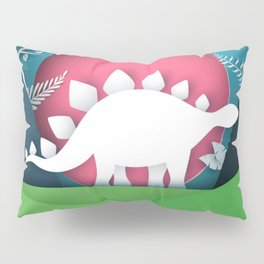 3D Paper Art Dino In the Mountains Pillow Sham
