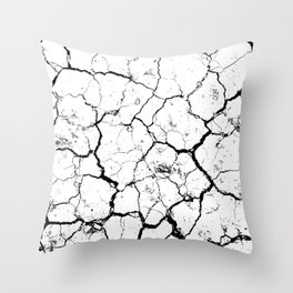 The cracks texture white and black Throw Pillow
