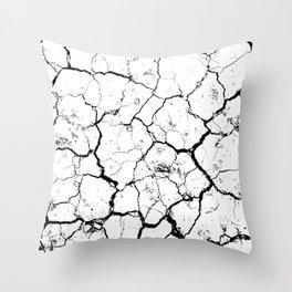 The cracks texture white and black Throw Pillow