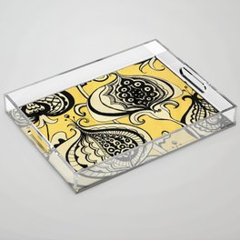 Black and Yellow Floral Acrylic Tray