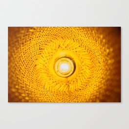 inside of a lantern made from bamboo Canvas Print