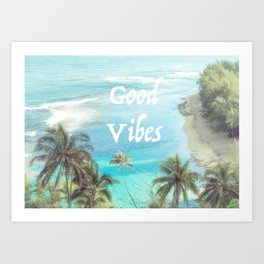 Good Vibes Beachy Palms Art Print