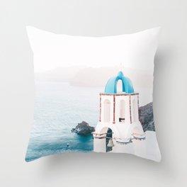 Santorini Greece Mamma Mia Church Photography Throw Pillow