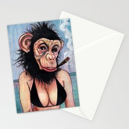 Portrait - Sexy George Burns Monkey Girl  Stationery Cards