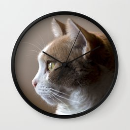 White Cat with Butterscotch Patches Profile Portrait Wall Clock