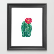 cactus with little red flower Framed Art Print